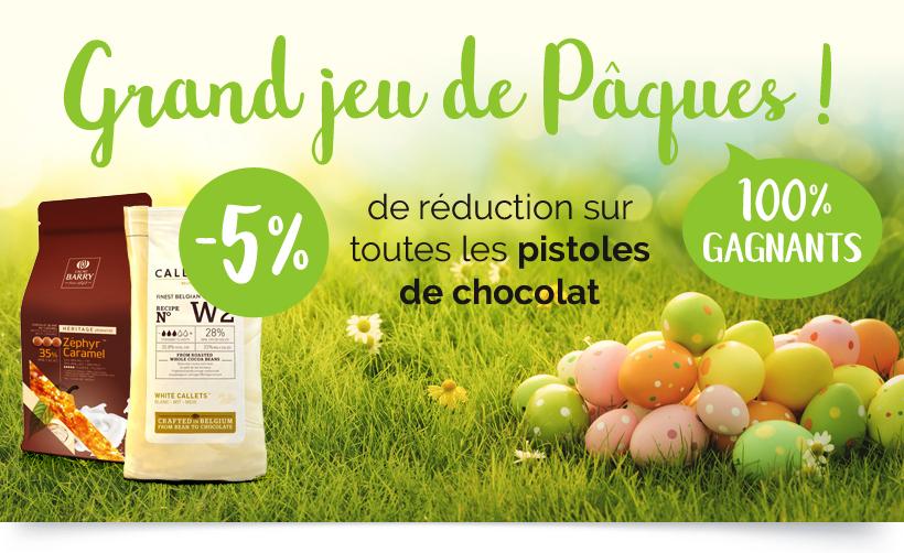 Grand jeu de Pâques ! -5% de réduction sur toutes les pistoles de chocolat